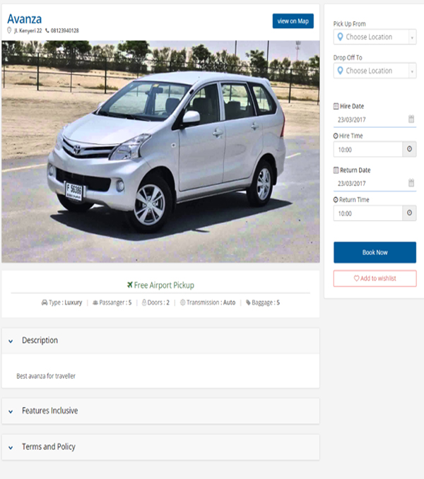 CAR HIRE RESERVATION